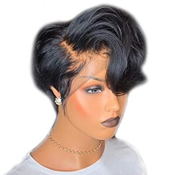 Amazon Com Short Lace Front Wigs Pixie Cut Wig Wavy Brazilian Remy Hair Wigs Glueless Lace Front Human Hair Wigs Pre Plucked Beauty