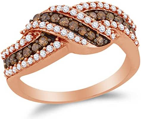 10K Rose Gold Chocolate Brown & White Round Diamond Fashion Ring - Channel Setting (3/4 cttw.)
