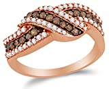 chocolate diamond gold ring - Size 8 - 10K Rose Gold Chocolate Brown & White Round Diamond Fashion Ring - Channel Setting (3/4 cttw.)