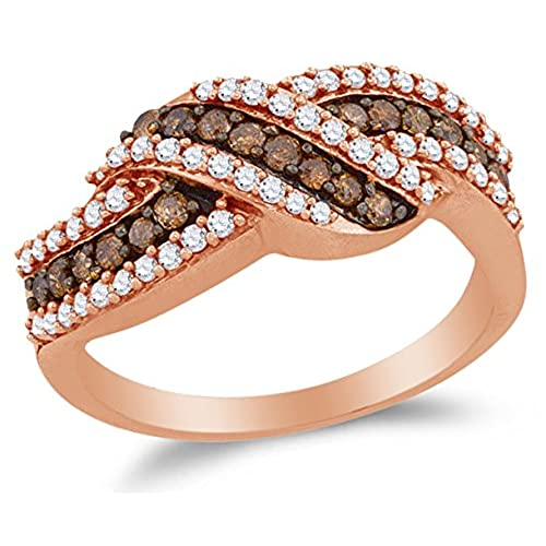 size 7 10k rose gold chocolate brown white round diamond fashion ring channel setting 34 cttw - Chocolate Diamonds Wedding Rings