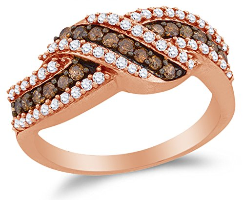 10K Rose Gold Chocolate Brown & White Round Diamond Fashion Ring – Channel Setting (3/4 cttw.)