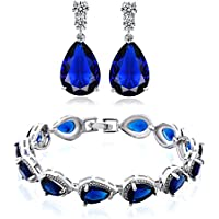 GULICX Women's Silver Jewelry Set Sapphire-color/Ruby-color Charm Tennis Bracelets Chains Drop Zirconia Earrings
