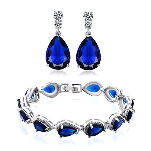 GULICX Women's Silver Jewelry Set Sapphire-color Charm Tennis Bracelets Chains Drop Zirconia Earrings