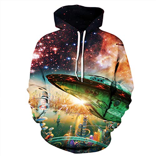 Cosmic Alien Base Green UFO Hooded Sweatshirt Cool Pullover as The picture197 S ()