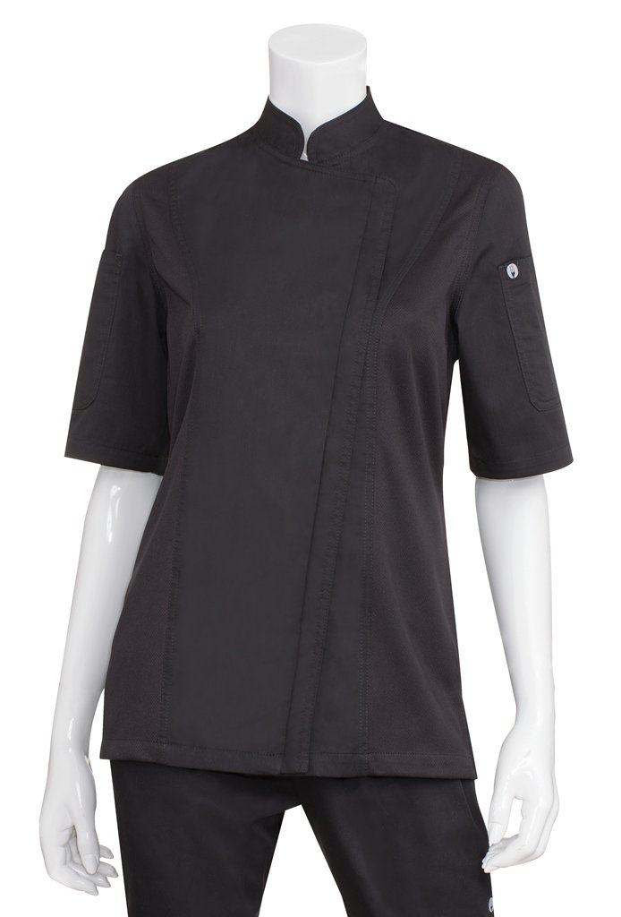 Chef Works Women's Springfield Chef Coat, Black, Large