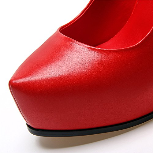 Platform Nine Leather High Toe Pointed Chunky Red Genuine Pumps Seven Handmade Dress Heeled Heel Women's qEvwFq8r