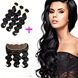 ZILING Brazilian Virgin Body Wave 3 Bundles with Frontal Ear to Ear Lace Frontal Closure with 7A Human Hair Extensions Lace Frontal with Baby Hair (20 22 24+ Closure 18)