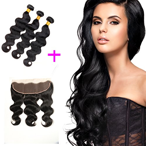 ZILING Brazilian Virgin Body Wave 3 Bundles with Frontal Ear to Ear Lace Frontal Closure with 7A Human Hair Extensions Lace Frontal with Baby Hair (20 22 24+ Closure 18) by ZILING