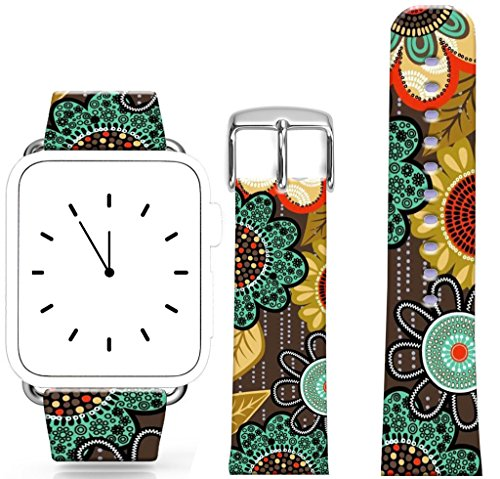 Band for Iwatch 42mm/44mm Series 1/2/3/4 / Topgraph Replacement Leather Strap Compatible for Apple Watch 42mm/44mm Beautiful Flower Print Floral Design