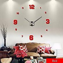 LOVEQ Wall Clock Clocks Watch Horloge Murale Diy 3D Acrylic Mirror Large Home Quartz Circular Needle Modern(red)