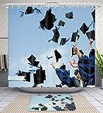 Amavam Bathroom 2-Piece Suit High School Graduation Hats High Shower Curtains And Bath Mats Set, 71'' Wx79 H & 31'' Wx20 H