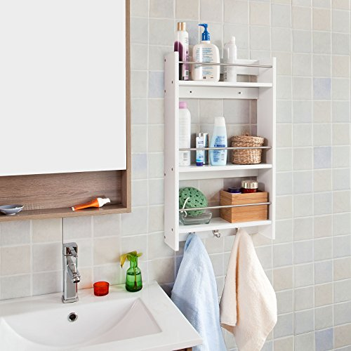 Haotian Wall Shelves,Wall rack,Wall Cabinets,Wall-Mounted Cabinets,Storage Racks, Hanging Entryway Shelf,Storage Shelf,and Coat Rack Wall Shelf with Hooks (FRG33-W) by SoBuy