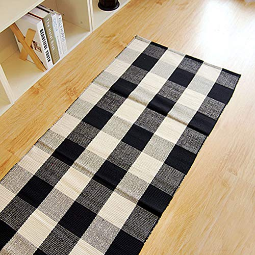 100% Cotton Plaid Rugs Black/White Hand-Woven Checkered Door Mat Washable Rag Throw Rugs, 24''x70.8'', Reversible Black and White Plaid Rug -