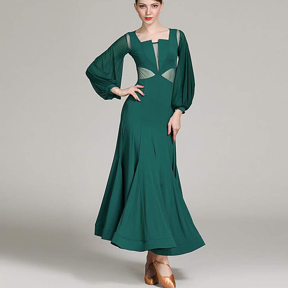 女性ラテンダンスドレス衣装ベリーダンススカート緑手作りミルクシルクタンゴ社交ダンス服ガウンフルスカート XL 2XL B07MTF3973 Medium