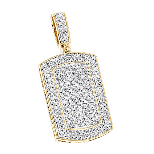 Luxurman Natural 0.9 Ctw Diamond Dog Tags 10K Iced Out Small Tag Pendant (Yellow Gold) ()