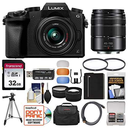 Panasonic Lumix DMC-G7 4K Wi-Fi Digital Camera & 14-42mm (Black) with 45-150mm...