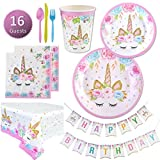 Unicorn Party Supplies Set - Plates, Cups, Napkins, Tableware, Bunting Banner, Table Cover kit - Set of 16 -Cute, Magical, Fantasy decorations for Girls and 1st Birthday by My Greca Party Favors
