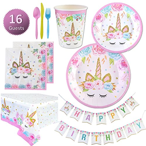 Unicorn Party Supplies Set - Plates, Cups, Napkins, Tableware, Bunting Banner, Table Cover kit - Set of 16 -Cute, Magical, Fantasy decorations for Girls and 1st Birthday by My Greca Party Favors by My Greca