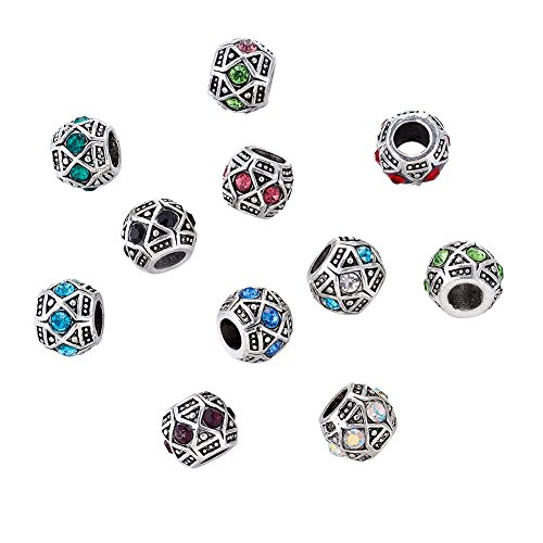 Kissitty 50-Piece 11x9mm Antique Silver Plated Large Hole Bicone European Rhinestone Beads Random Mixed Color for DIY Jewelry Making