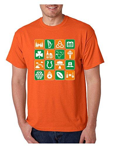 Allntrends Men's T Shirt Irish Icons St Patrick's Day Symbols Tee Shirt (XL, Orange)