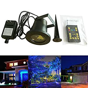 SROCKER XL32 Garden Laser Light Waterproof Firefly Lights Outdoor Decorative Landscape Lawn Light Tree Light with Remote Control for Holiday, Party, Wedding, Disco (Blue&green)
