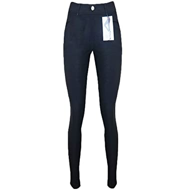a961f9f2cf8277 Image Unavailable. Image not available for. Colour: Ladies Self Print Black  Diamond Button Skinny Tight Fit Women's Jeggings Jeans