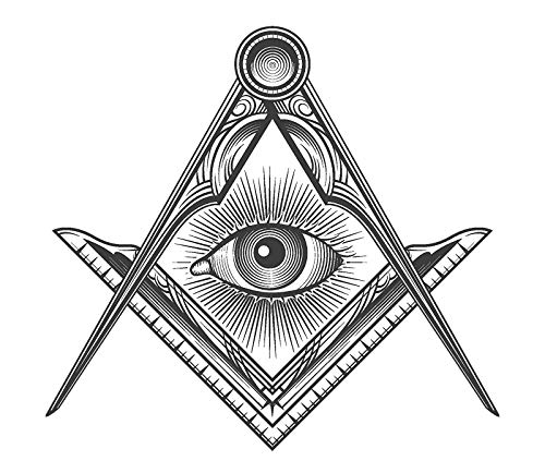 (EW Designs Black an White Seeing Eye of Providence Icon Vinyl Decal Bumper Sticker (4