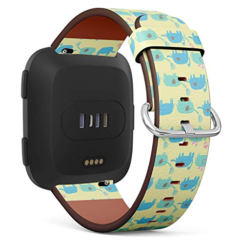 (Compatible with Fitbit Versa - Quick-Release Leather Band Bracelet Strap Wristband Replacement - Cute Elephant)