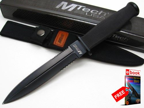 MTECH ack Serrated Full Tang SPEAR Point SURVIVAL Knife + Sheath + FREE eBOOK by MOON KNIVES