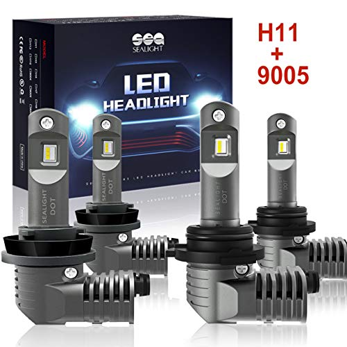 H11/H8/H9 9005/HB3 LED Headlight Bulbs with Fan, SEALIGHT S2 Series Mini Design Upgraded CSP Chips 6000K Xenon white IP67-2 Year Warranty (4 Pack)