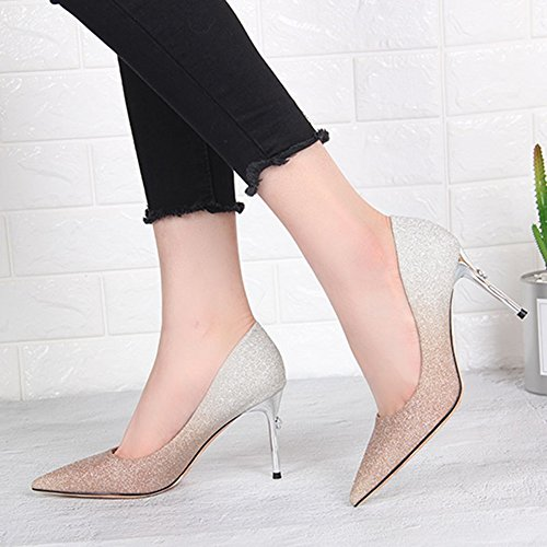 Shoes Heeled Summer High High Banquet 9CM Gold Shoes Women's Fashion Single Mouth Material Pointed Quality Shallow High Shoes with Feifei qPZx6TwET