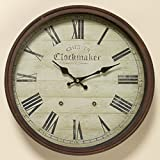 Whole House Worlds The Old English Chester Wall Clock, Precise Quartz Movement, Vintage Reproduction, Rustic Metal Beveled Circular Frame, 15 D Inches (38cm), Battery Operated (1 AA) By For Sale