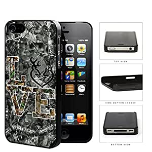 LOVE Browning Deer Head BLACK WHITE GREY Camo Tree Oak Pattern #A07 iPhone 4 4s Hard Snap on Plastic Cell Phone Case Cover