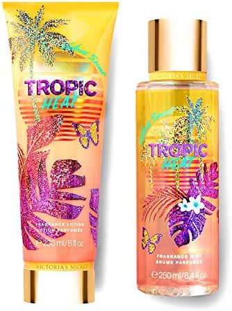 Victorias Secret Tropic Dreams Fragrance Mist and Lotion Set (2PC) - Summer Scent 8.4 fl oz & 8 fl oz (Tropic Heat)