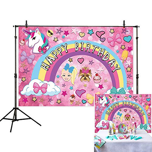 Allenjoy 7x5ft Colorful Cartoon Backdrop for Sweet 16 Happy 18 Dream Crazy Big Theme Bokeh Photography Background Birthday Party Banner Unicorn Puppy Girl Glitter Rainbow Baby Shower Photo Booth Decor -