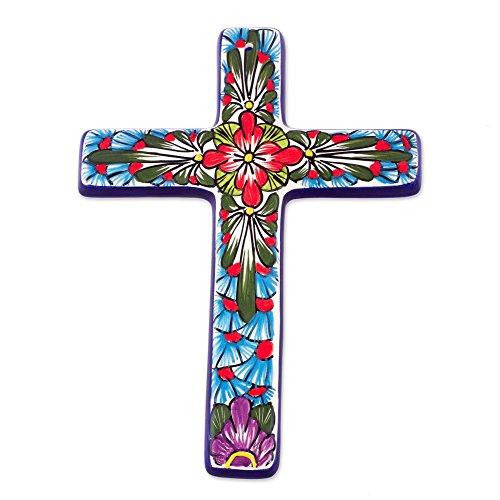 NOVICA Hand Painted Talavera Large Ceramic Wall Cross, Multicolor, Jerusalem Rose'