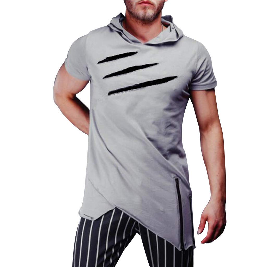 2019 Men's Hooded Fashion Lapel T-Shirt Scratch Pattern Short Sleeve Baggy Tees Tops with Zipper (4 Colors) Gray