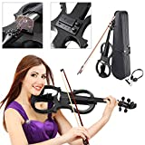 Koval Inc. 4-4 Full Size Maple Silent Electric Violin Headphone Set w- Case (Black)