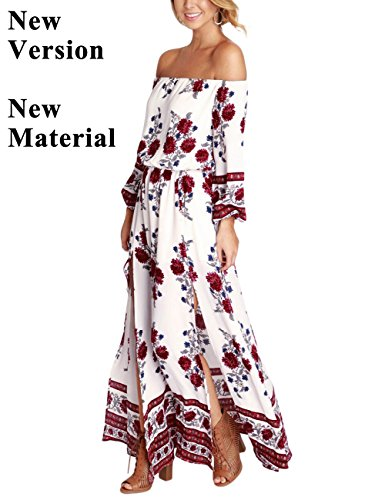YesFashion Women Off Shoulder Bohemia Floral Print Split Beach Dress (M, New Material – White)