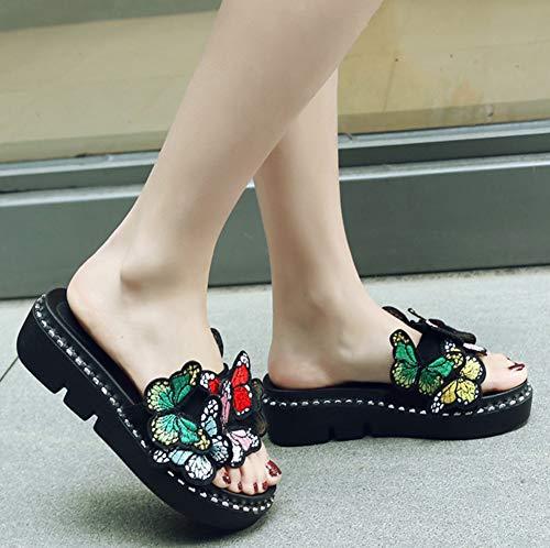 Spécial Mules Femme Easemax Bout Plate Multicolore Noir Ouvert Chaussure 4qwRwZ5