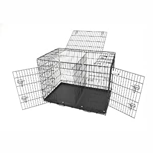 """Champion Dogs Black 42"""" dog cage with 3 doors with metal pan"""