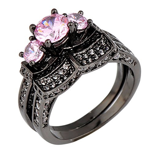 Bamos Jewelry Pink Diamond Black Gold Best Friend Engagement Wedding for Womens Rings Size6/7/8/9/10(10)
