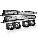 LED Light Bar Kit, Autofeel 6000K OSRAM Chips 52 Inch + 32 Inch 35000LM Flood Spot Beam Combo White LED Light Bars + 4PCS 4
