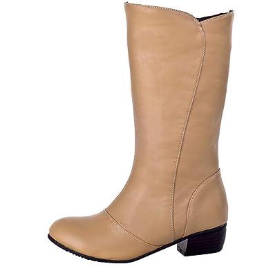 0561ec6162bb12 Soldes Hiver Bottines Mi Hautes en Cuir,Overdose Mode Femme Bottes  Chaussures Plates Blanc Bout