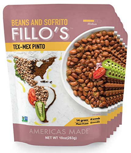 FILLO'S Tex Mex Pinto Beans, Ready to Eat Sofrito Beans, 6 Count, 10 Ounces Each, Seasoned with Fresh Vegetables, Microwavable, Non-GMO, Vegan, Plant Protein