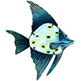 Patio Eden - Metal and Glass Fish Wall Art - 12.5'' - Perfect Patio Decoration - Indoor Or Outdoor Hanging Beach Decor - Easy To Hang