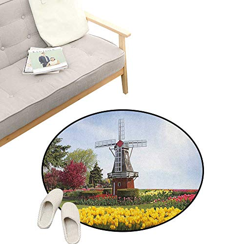 Windmill Modern Flannel Microfiber ,Serene Vast Traditional Garden with Blossoming Flowers Trees and Dutch Tulips, Round Rug Living Room Bedroom Decor 47