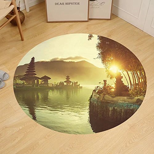 Gzhihine Custom round floor mat Landscape Pura Ulun Danu Temple Bali Indonesia Asian River Traditional Religious Landmark Bedroom Living Room Dorm Yellow Green by Gzhihine