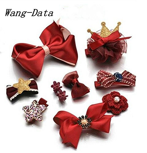 Wang-Data 10pcs Hair Clips Cute Bowknot Crown Hair Barrette Hairpin Headdress Bows Accessories for Photography Pops Costume Party Baby Girls Kids Toddler Birthday Gift(Red)