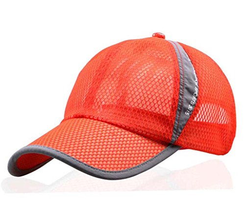 Trucker Cap Adjustable Mesh (CRYSULLY Lightweight Anti UV Sun Protection Hat Air Mesh Caps Adjustable Trucker Baseball Cap for Women/Men Orange)